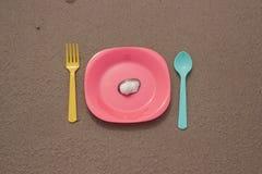 仍然人生塑料餐具和壳 库存照片
