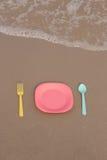 仍然人生塑料餐具 图库摄影