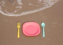 仍然人生塑料餐具 免版税库存照片