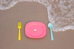 仍然人生塑料餐具 库存图片