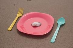 仍然人生塑料餐具 免版税库存图片