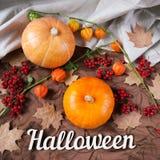 仍然秋天生活 南瓜与花、槭树叶子和万圣夜假日发短信 顶视图 库存照片