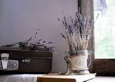 仍然1寿命 葡萄酒 淡紫色老手提箱和小树枝在老窗口背景的对庭院的 淡紫色树荫 库存图片