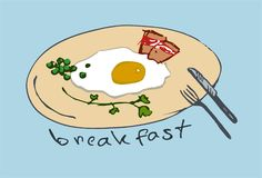 煎蛋卷 早餐服务 皇族释放例证
