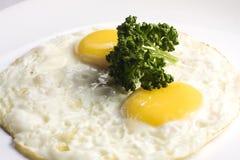 煎蛋用在一块白色板材的荷兰芹 免版税库存图片