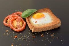 煎蛋用在多士的烤蕃茄 免版税库存照片