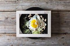 煎蛋,健康菜单 顶视图,拷贝空间 库存照片