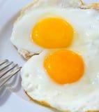 煎蛋,顶视图 免版税库存图片