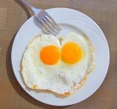 煎蛋,顶视图 免版税库存照片