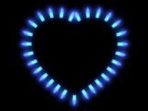煤气炉火焰在黑暗的 图库摄影