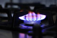 煤气炉燃烧器特写镜头 免版税库存照片