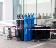 煤气罐安全区  免版税库存图片