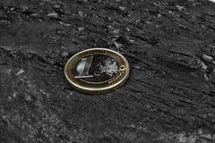 煤炭和欧洲硬币 库存照片