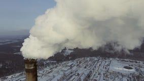 煤炭火力驻地的天线 顶视图 股票录像