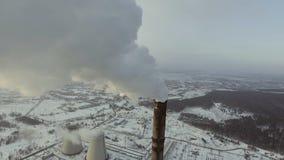 煤炭火力驻地的天线 顶视图 影视素材