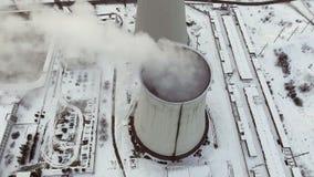 煤炭火力驻地的天线 顶视图 股票视频