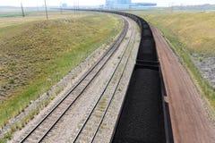 煤炭火车在怀俄明 免版税图库摄影