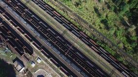 煤炭火车在货棚-煤炭,采矿,火车鸟瞰图  影视素材