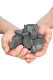 煤炭焦炭在手中在白色背景 库存照片