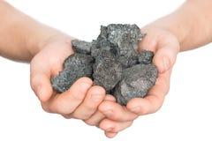 煤炭焦炭在手中在白色背景 免版税库存照片