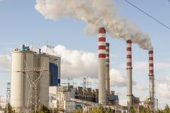 煤电植物在Patnow - Konin,波兰,欧洲。 免版税库存照片