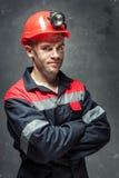 煤矿工人画象  免版税库存照片