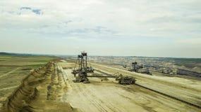 煤矿巨型挖掘机鸟瞰图在德国 库存图片