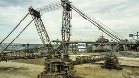 煤矿巨型挖掘机鸟瞰图在德国 免版税库存图片