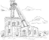 煤矿头饰塔 免版税库存照片