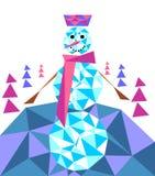 仿照一个多角形样式的雪人在一个冬天fo的背景 免版税库存照片