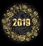 照亮围绕与金黄雪花的框架在新年快乐的黑背景2019年 向量例证