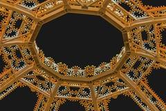 照亮围绕透雕细工装饰曲拱 最小的圆顶,几何结构现代室内设计  复制空间 库存照片