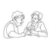 照料年长的人 咨询医疗诊断 库存图片