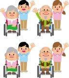 照料者和老人的轮椅 向量例证