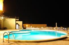 照明晚上池温泉游泳 图库摄影