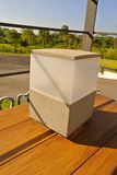 照明设备位于房子的大阳台 免版税库存图片