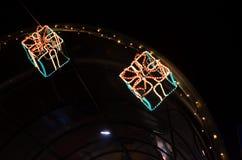 照明设备作为装饰的礼物盒 库存图片