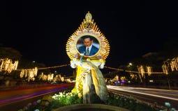 照明设备照片生日泰国的庆祝(父亲节)国王 图库摄影