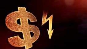 照明设备螺栓美元的符号和象征  光亮微粒财务背景  3D与景深的圈动画 库存例证
