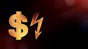 照明设备螺栓美元的符号和象征  光亮微粒财务背景  3D与景深的圈动画 皇族释放例证