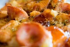 照片、开胃薄饼用香肠,乳酪、蕃茄和mayon 免版税库存图片