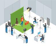 照片与射击演员等轴测图的操作员的演播室内部 向量 皇族释放例证