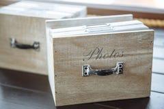 照片书的时髦的设计师箱子 免版税库存照片