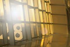照片企业技术背景 晚上光在办公室摩天大楼 现代抽象几何背景 免版税库存图片