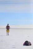 照片写真在撒拉族de Uyuni 图库摄影