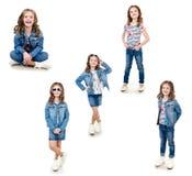 照片可爱的微笑的小女孩的汇集 免版税库存照片