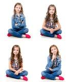 照片可爱的微笑的小女孩的汇集 图库摄影