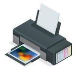 照片喷墨打印机 彩色打印机在白色被隔绝的背景打印照片 四个空的适于再装的弹药筒 库存照片