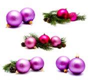 照片圣诞节装饰淡紫色洋红色球wi的汇集 免版税库存图片