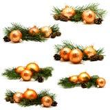 照片圣诞节装饰金子和黄色球的汇集 免版税库存图片